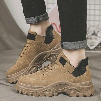 Zapatos informales para hombre, Zapatillas para hombre, zapatos de plataforma a la moda, zapatillas nuevas, zapatos gruesos y cómodos de color negro para hombre, D-69