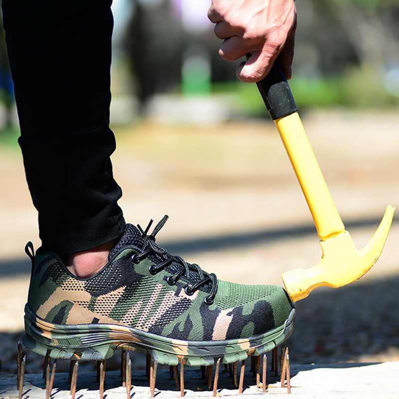 JODIMITTY 작업 부츠 건설 남자 야외 강철 발가락 모자 신발 남자 위장 펑크 증거 고품질 안전 플러스 크기