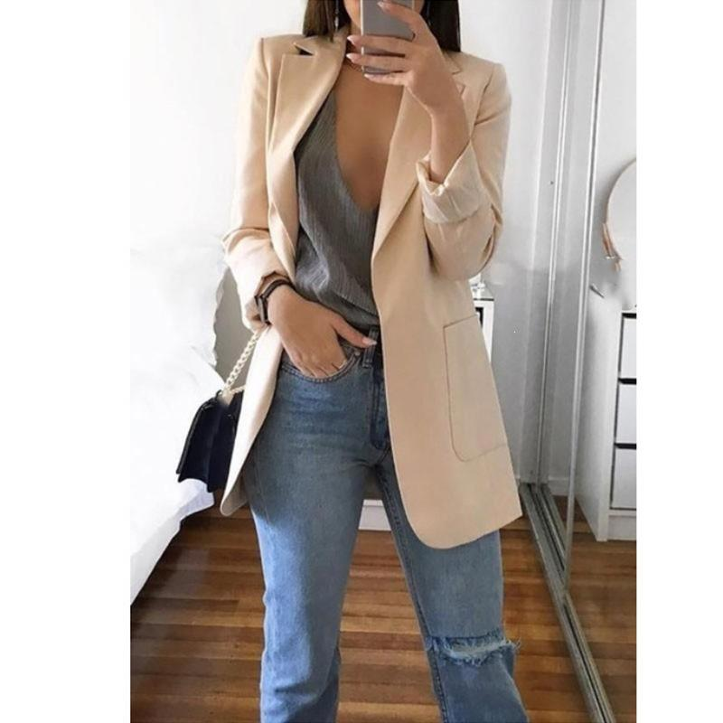 2020 Spring Autumn Office Lady Long Slim Suit Casual Elegant Coat Long Sleeve Female Business Suit