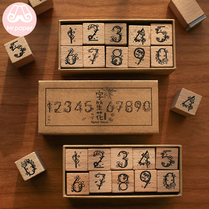 Mr Paper 10pcs/pack Number Flower Series Seal Wooden Rubber Stamps Set for Scrapbooking Deco Craft Planet Star Wooden Stamps