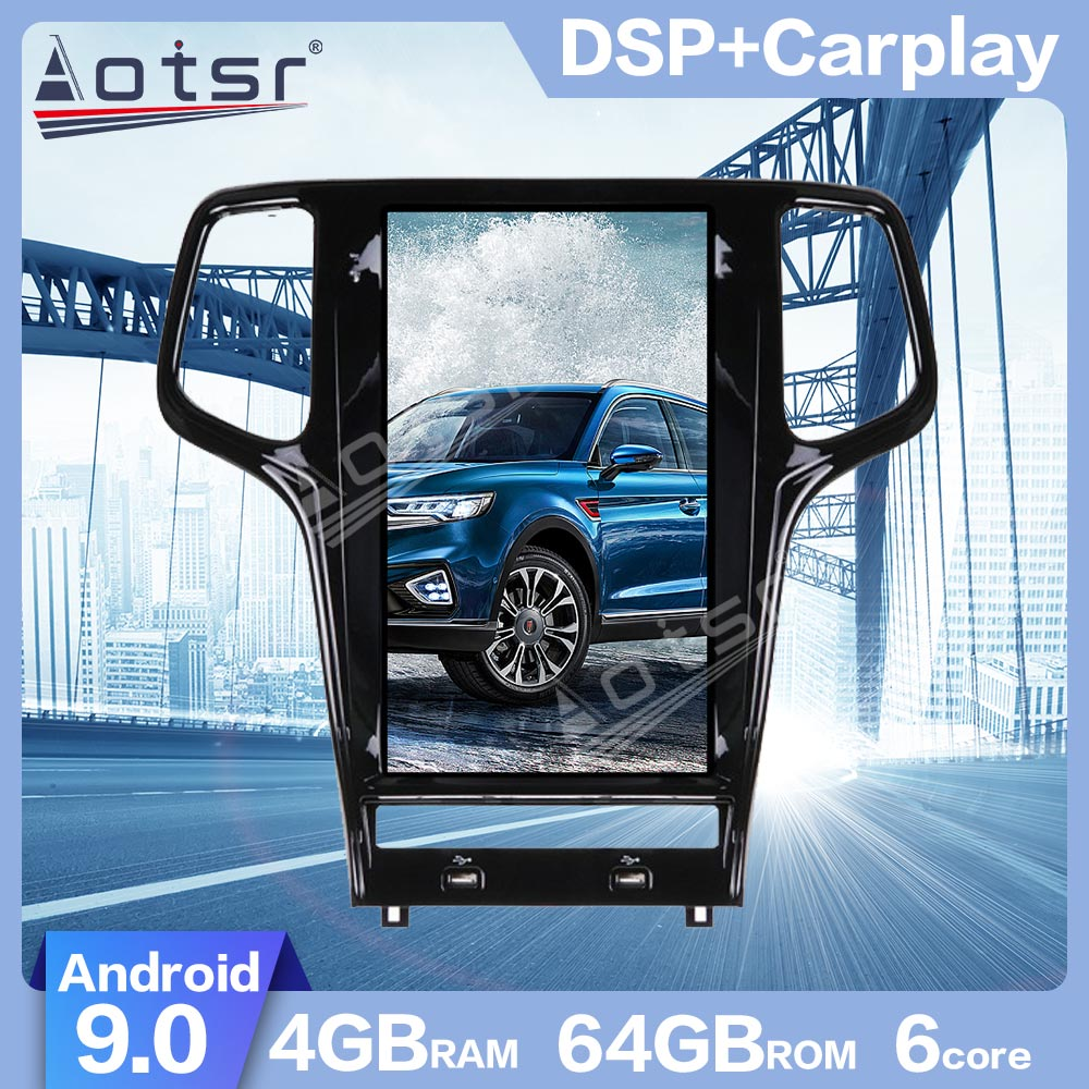 AOTSR 13.6 inch Android 9.0 Tesla style Car GPS Navigation For JEEP Grand Cherokee 2010-2019 Multimedia Player Radio Carplay PX6 image