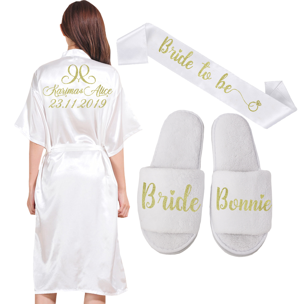 Custom Long Robe Wedding Personality robe for Bridedal Party Emulation Silk Soft Home Bathrobe For Women Kimono Robes-in Robes from Underwear & Sleepwears on AliExpress