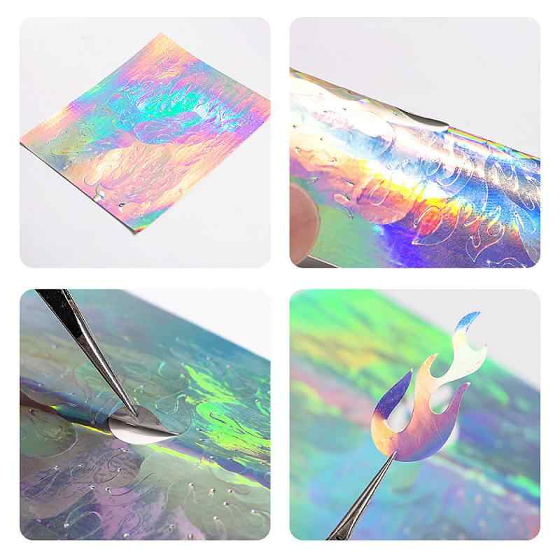 16pcs Fire Nail Holographic Strip Tape Nail Art Stickers Thin Laser Silver Stripe Sticker DIY Foil Decal Sticker