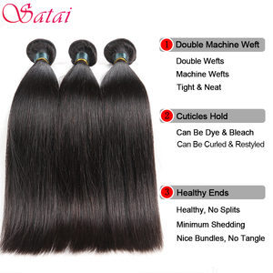 Image 2 - Satai Straight Hair Bundles With Closure Brazilian Hair Weave Bundles 8 38 Inch Human Hair Bundles With Closure Hair Extension