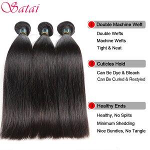 Image 2 - Satai mechones de pelo liso con cierre, extensiones de pelo ondulado mechones brasileños de 8 38 pulgadas, extensiones de cabello humano mechones con cierre, extensión de cabello