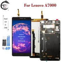 """5.5 """"LCD עם מסגרת עבור Lenovo A7000 7000 מלא LCD תצוגת מסך מגע חיישן Digitizer עצרת החלפת A7000 תצוגה"""