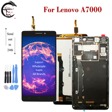 ЖК дисплей с рамкой для Lenovo A7000 A 7000, полный ЖК дисплей, сенсорный датчик, дигитайзер в сборе, замена дисплея A7000