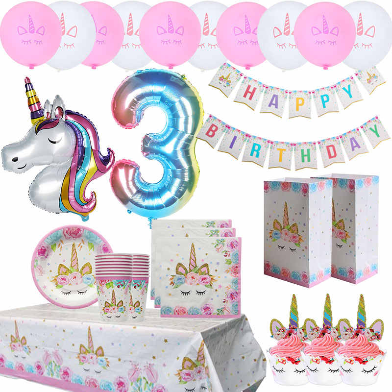 Unicorn Decor Disposable Tableware My Little Girl Birthday Unicorn Birthday Party Decor Unicorn Party Supplies Unicornio Balloon Party Diy Decorations Aliexpress