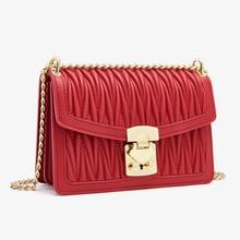 цена на 2020 New Louis Handbags Women Genuine Leather Shoulder Fashion Small Bag V-chain Messenger Bag Candy Female Clutch Crossbody Bag