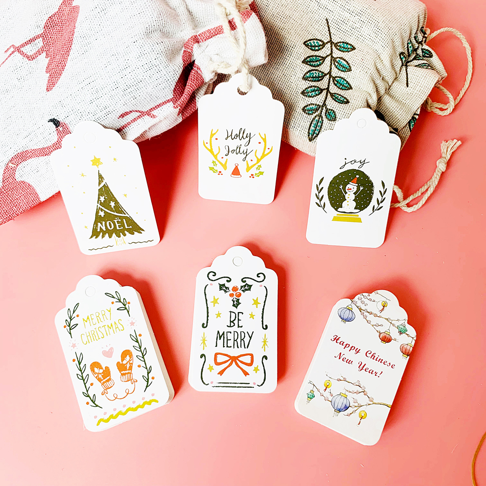 50pcs Christmas Paper Tags Party Decoration White Gift Hang Box Cards DIY Label Handmade Garment