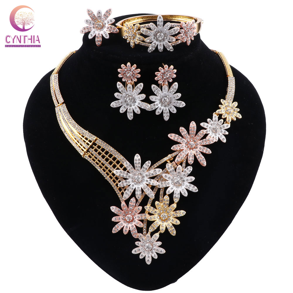CYNTHIA <font><b>Nigeria</b></font> Luxury Wedding Flower <font><b>Jewelry</b></font> <font><b>Set</b></font> Dubai Gold Bead Necklace Bracelet Earrings Ring <font><b>Set</b></font> <font><b>for</b></font> <font><b>Women</b></font> image