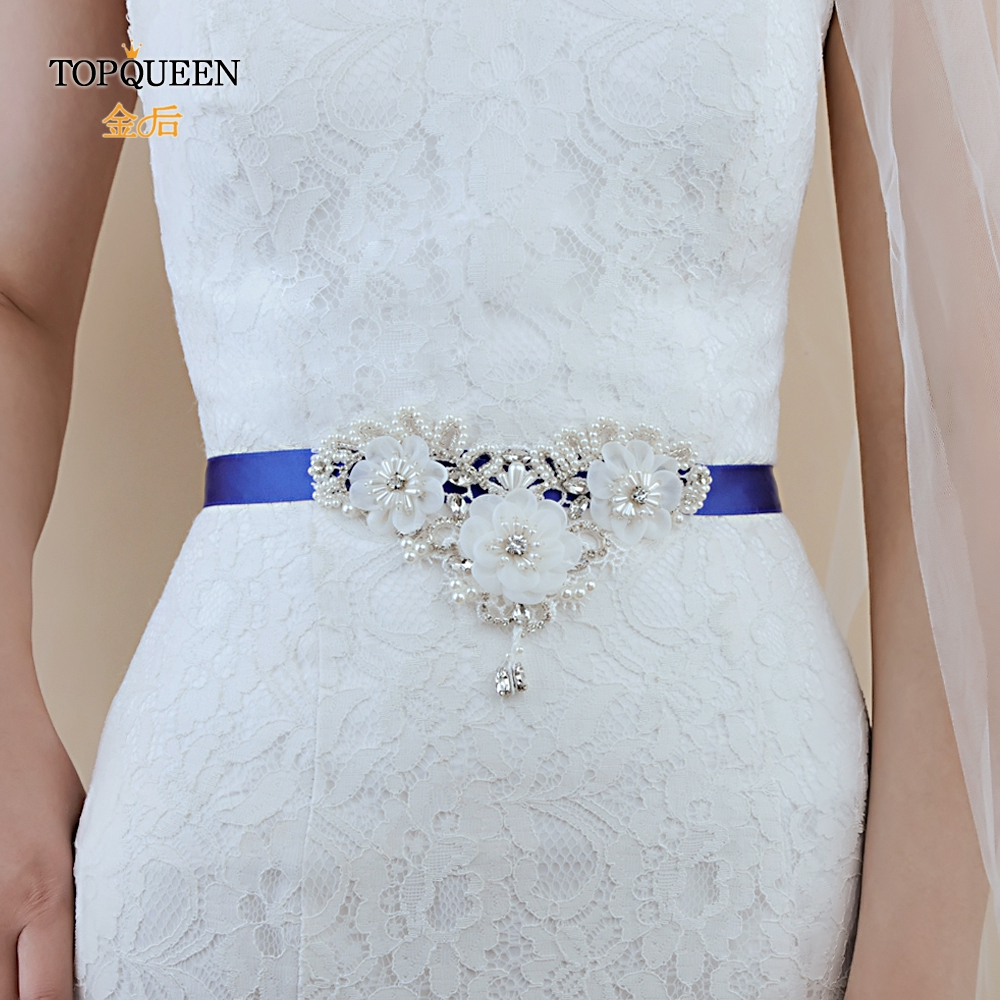 TOPQUEEN S354 Bridal Flower Belts For Party Dresses Belt Fringe Belt Woman Wedding Belts Flowers With Pearls Beaded Flower Sash