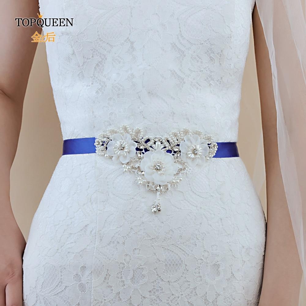 TOPQUEEN S354 Bridal Flower Belts For Party Dresses Belt Fringe Belt Woman Wedding Belts Flowers With Pearls Beaded Flower Sash
