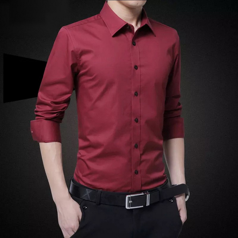 New Arrival Fashion Men's Long Sleeve Casual Shirts Slim Solid Business Dress Shirt Spring Autumn Men's Shirt With Button Shirts