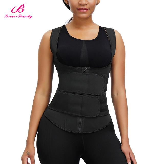 Lover Beauty Women Neoprene Waist Trianer Vest Double Waist Belt Slimming Corset Sauna Sweat 9 Steel Boned Body Shaper