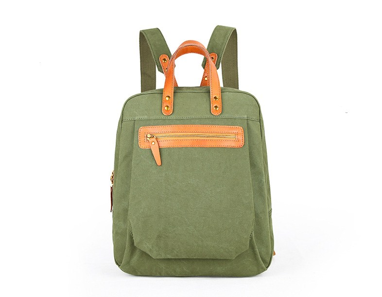 Canvas+leather Patchwork Small Rucksack Outdoor Backpack Teenager Bags