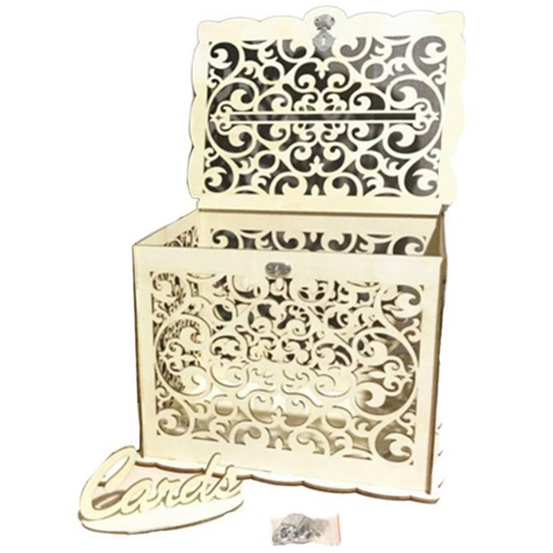 Creative Retro Hollowed Out Lock Diy Wooden Wedding Sign In Box Wedding Decoration Greeting Card Cosmetic Jewelry Storage Box