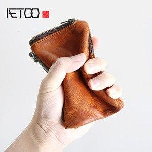 Image 1 - Короткий кошелек AETOO в стиле ретро, кожаный мужской бумажник с верхним слоем, Молодежный винтажный вертикальный клатч на молнии