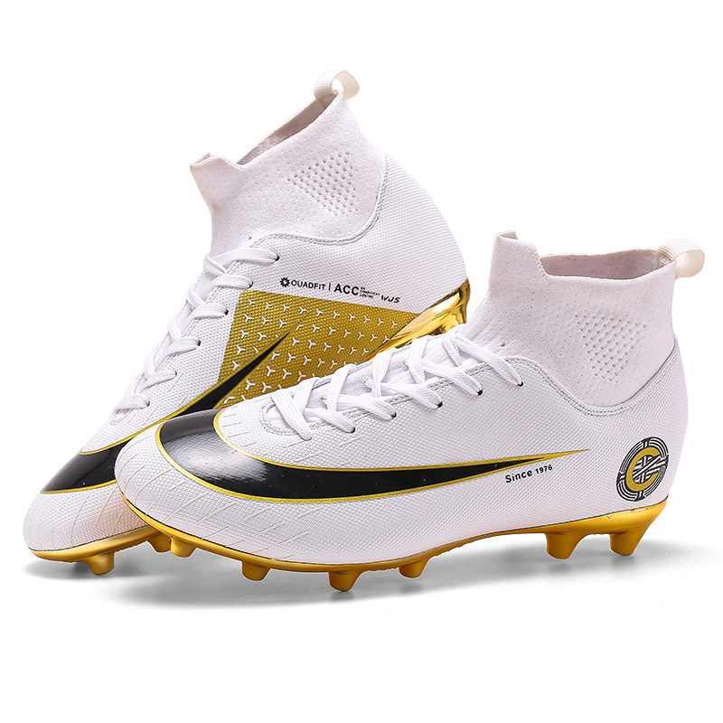 Weiß Goldene Männer Fußball Stiefel Botas De Futbol Socken Stollen Ausbildung Hohe Ankle Fußball Schuh Frauen Weiche Groud Mann Fußball schuhe