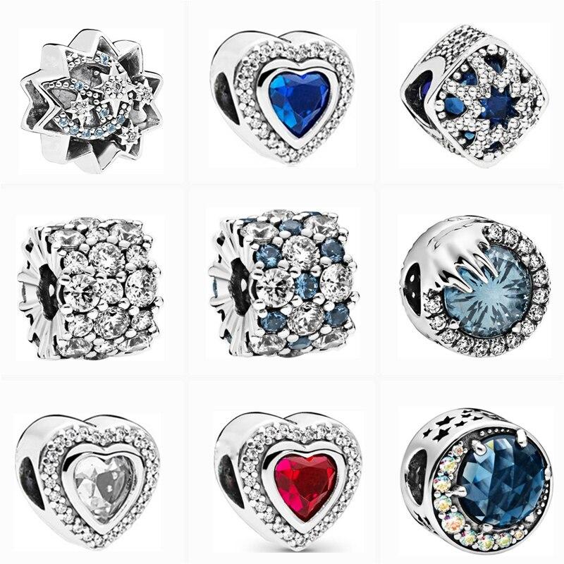 Ranqin étincelant rose Transparent strass perles de mode ajustement Original Pandora Bracelet à breloques collier bricolage femmes bijoux cadeaux