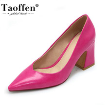 Taoffen New Women Pointed Toe Pumps Solid Color High Heels Shoes