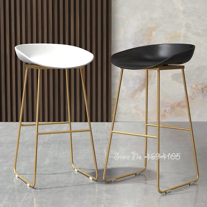 New Nordic Bar Stools Cafe Lounge Stool Simple Bar Stool Designer Wrought Iron Gold High Chair Padded Bar Chair Bearing 150KG