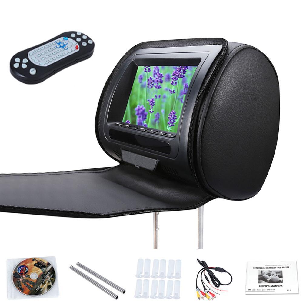 Avec fermeture éclair couverture 7 pouces voiture appuie-tête haut-parleur moniteur vidéo HD LCD écran réglable jeu infrarouge USB lecteur DVD affichage de voiture MP5