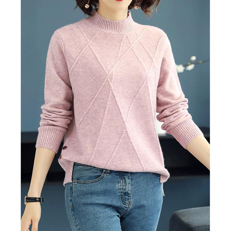 2019 Spring Autumn New Half-Neck Sweater Women'S Split Short Loose Blue Wild Bottoming Sweater Turtleneck Sweater Office Lady