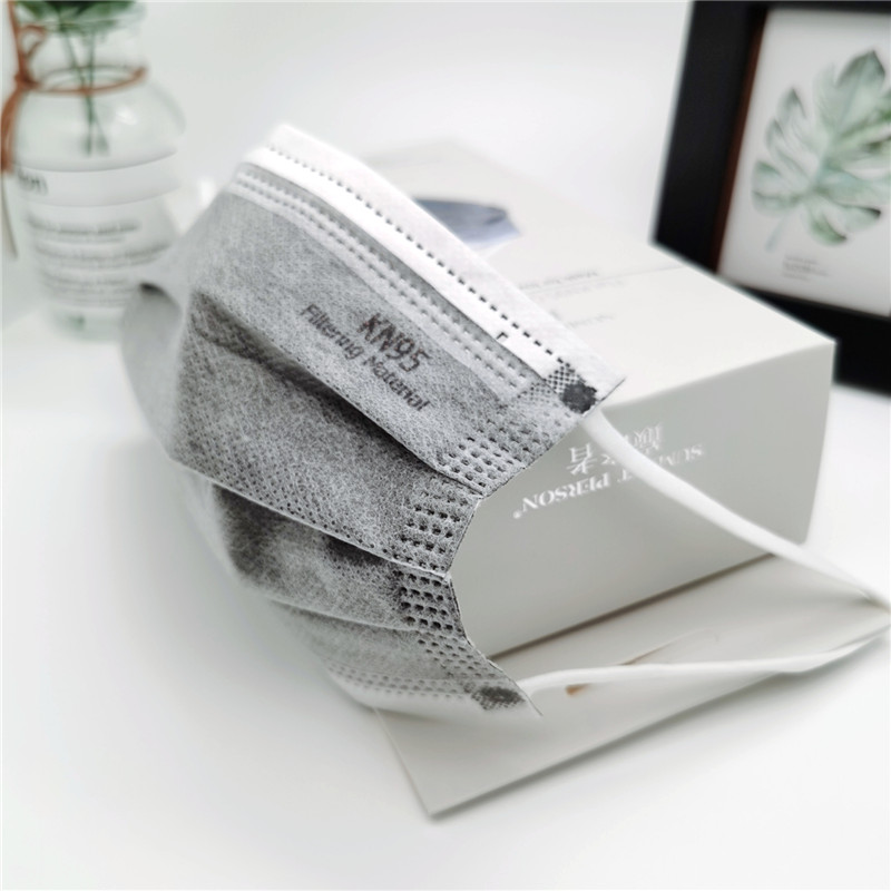 20 pièces/boîte CE KN95 5 couches gris masque charbon actif poussière respirateur visage masque de protection anti-poussière FFP2 coréen KN95 ffp2masque 3