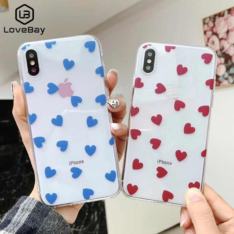 Lovebay Love Heart For iPhone 6 6s 7 8 Plus X XR XS Max 11 Pro Max 5 5S SE Phone Case Cute Cartoon Wave Point Clear Soft TPU For iPhone X