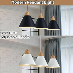 Lampe suspendue en bois véritable, style nordique, en aluminium, pour salle à manger, luminaire d'intérieur, nouvelle collection