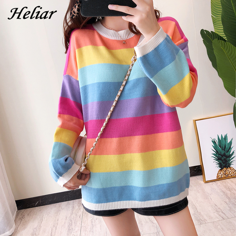 Heliar Autumn Winter Rainbow Stripe Sweater New INS Knit Sweater Long Sleeve Relaxed Lazy Style Women O Neck Pullovers