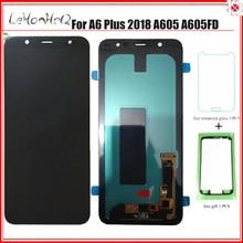 AMOLED A605 LCD สำหรับ Samsung A6 + A605 A6050 จอแสดงผล LCD Touch Screen Digitizer ASSEMBLY สำหรับ Samsung Galaxy A605 LCD a6 + A6 PLUS