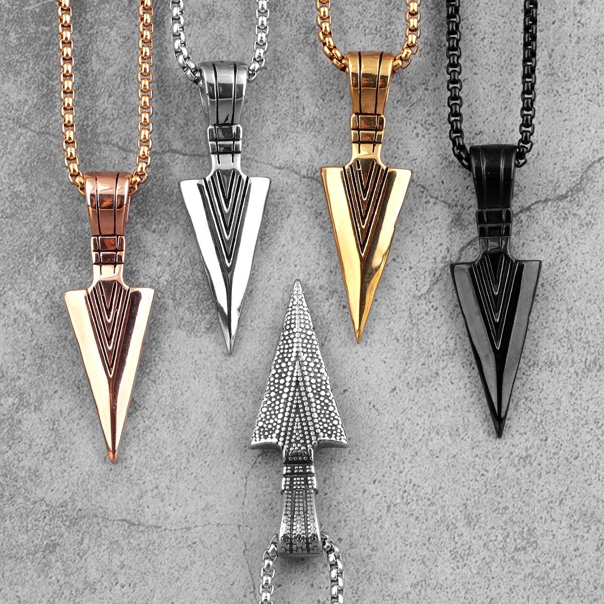 Sparta Spearhead Long Men Necklaces Pendants Chain Punk for Boyfriend Male Stainless Steel Jewelry Creativity Gift Wholesale