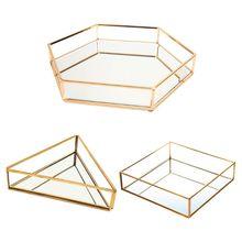 Gold Mirror Jewelry Tray Perfume Tray Mirror Vanity Tray Dresser Tray Ornate Tray Metal Decorative Tray Jewelry Perfume Organize