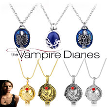 O vampiro diários charme colar para mulher vintage katherine klaus forbes azul pedra pingente colar filme cosplay jóias