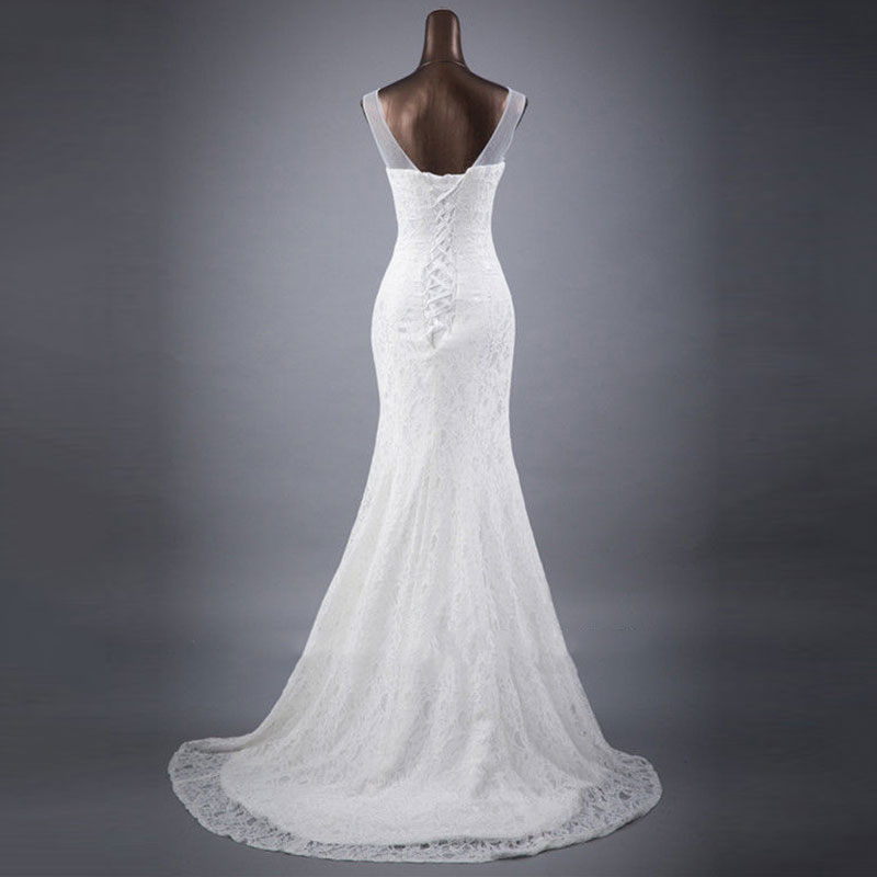 Tanpell Mermaid Wedding Dresses 2019 V Neck Sleeveless Lace up lace Floor Length Wedding Gown Bride Dress in Wedding Dresses from Weddings Events
