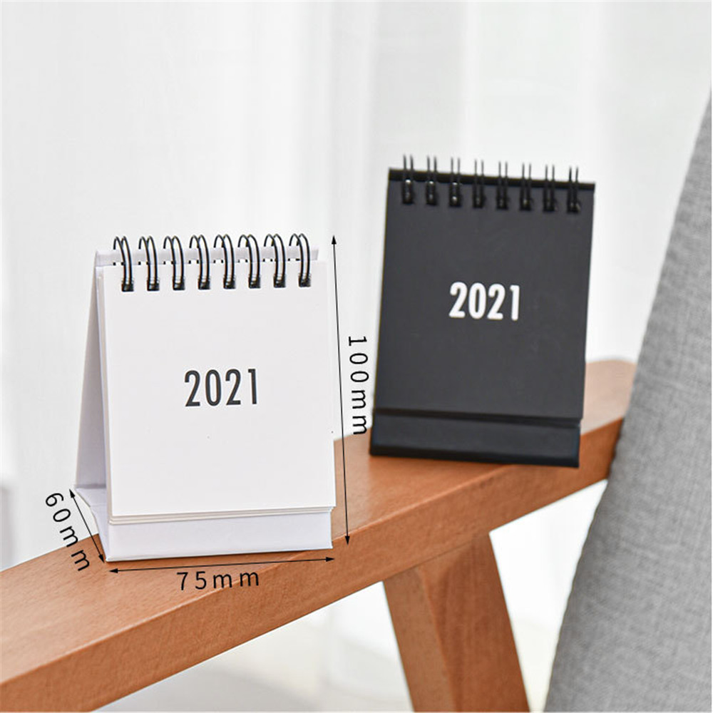 2021 2021 Simple Desktop Calendar Solid Color Series Dual Daily Schedule Planner Yearly Agenda Organizer Office Accessories 3