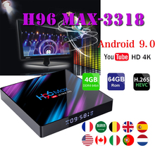 цены Belgium smart tv set top box H96 MAX RK3318 4GB RAM 64GB ROM BT4.0 USB3.0 2.4G /5G WIFI Media-Player android 9.0 tv boxes