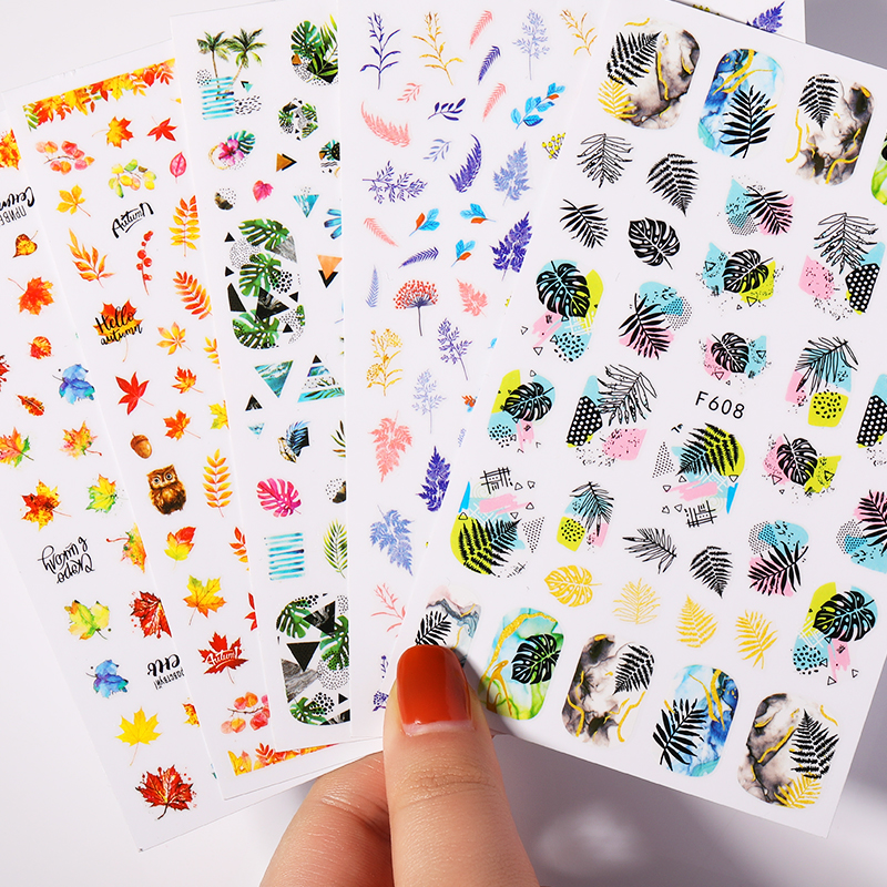 Купить наклейки для ногтей с изображением золотых листьев осенние кленовые