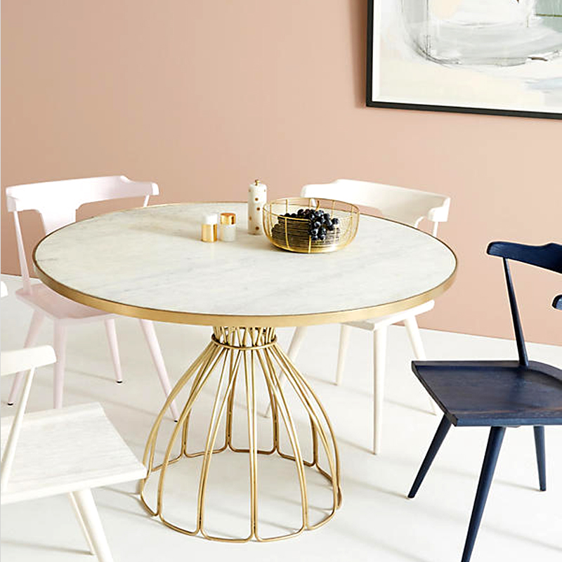 Nordic Minimalist Modern Gold Iron Art Marble Circle Showroom Dining Table Small Apartment-Style Casual Table
