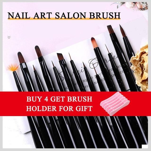 1Pcs/lot Nail Art Lines Painting Black Pen Brush Striper Daisy Acrylic Fan Gradient Shading UV Gel Polish Tips Flower