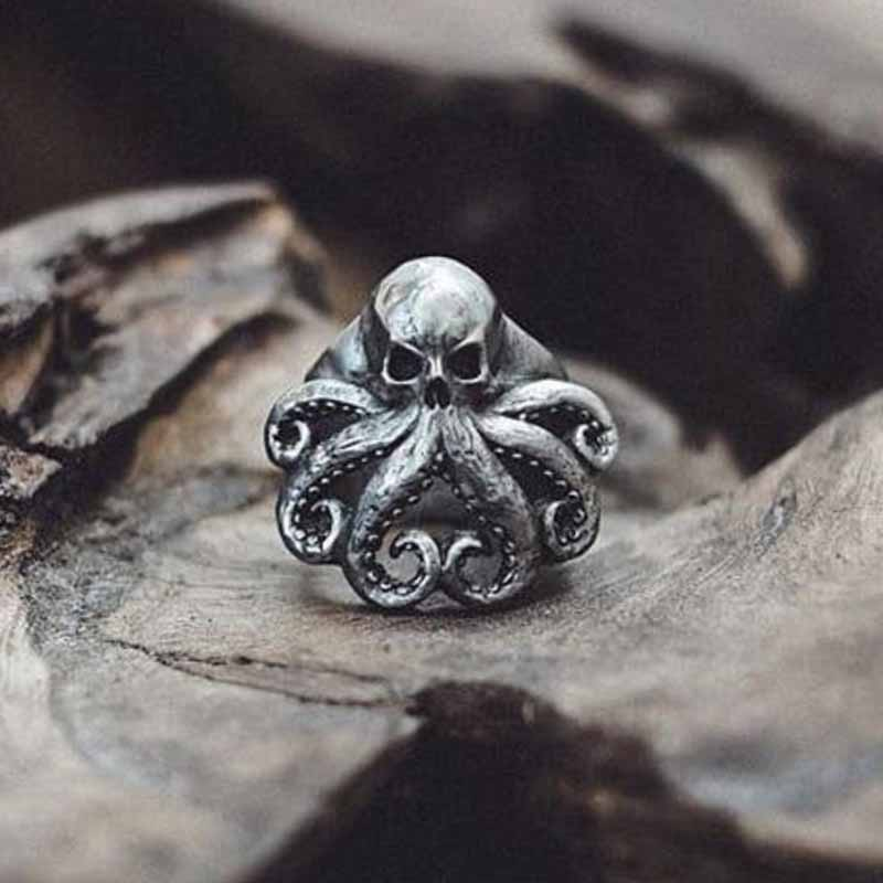 Christmas 2020 Charm Halloween Octopus Skull Punk Stainless Steel Seaman Rings Men Anel Puck Jewelry Gift for Sailor OSR426