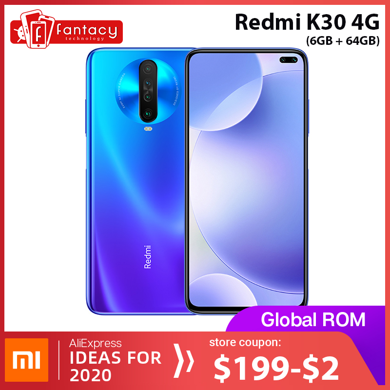 Globale Rom Xiaomi Redmi K30 4G Snapdragon 730G 6GB 64GB Smartphone Octa Core 64MP Quad Kamera 6,67 ''120 HZ Flüssigkeit Display 27W