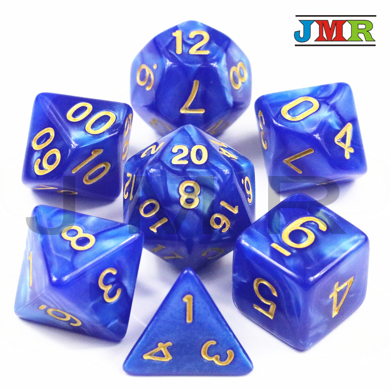 Pop Best Promotion 7pc/set Dice Set Multi-Sided Dice With Marble Effect DND And RPG Dice Game For Parties Toy Bauble Gift