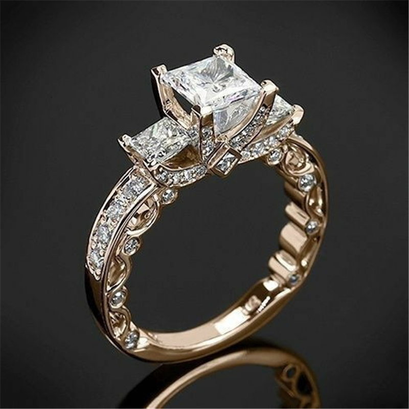 14K Gold Princess Diamond 2 Carat Ring For Women Wedding Bizuteria Anillos Gemstone 14K White Topaz Square Diamond Ring Jewelry