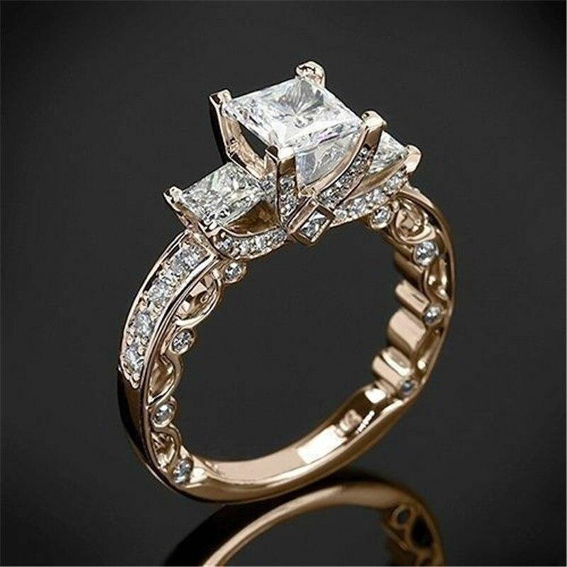 14K Gold Princess Diamond 2 Carat Ring for Women Wedding Bizuteria pure Gemstone White Square Diamond Ring Jewelry females