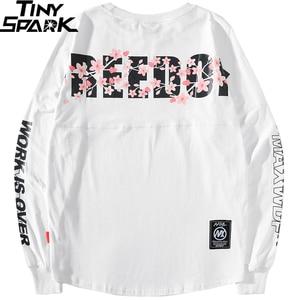 Image 3 - 2019 Harajuku Freedom Sakura Sweatshirt Pullover Hip Hop Streetwear Mens Hoodie Sweatshirts Oversized Japanese Style Long Thin