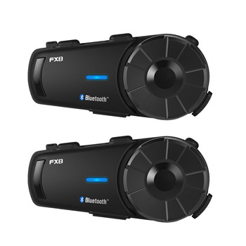 Fodsports 2pcs FX8 Motorcycle Helmet Bluetooth Intercom Moto Helmet Headset 1000m 8 Rider BT Interphone Intercomunicador FM