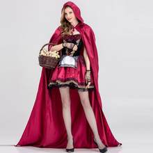 Halloween Cosplay Costumes Adult Women Little Red Riding Hood Dress Chemise Uniform Hooded Cloak Cosplay Suit Drop shipping c(China)